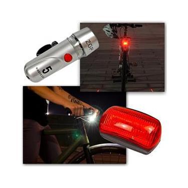 Farol Bicicleta Bike Sinalizador 5 Leds Lanterna Traseira Pisca Luz Dianteria