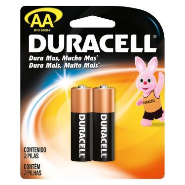 Pilha Alcalina AA Duracell - Cartela com 2 pilhas