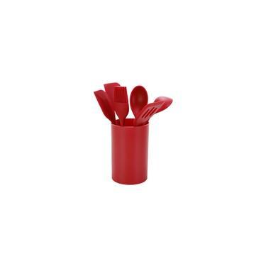 Conjunto de Utensílios de Silicone Vermelho 6 Peças com Suporte - Casual Home