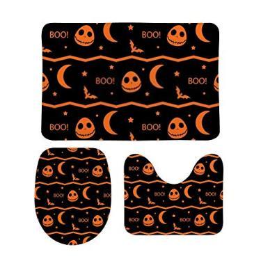 Imagem de Conjunto de tapetes de banheiro 3 peças laranja textura de Halloween para banheiro macio antiderrapante tapete de banheiro de espuma de memória, tapete de vaso sanitário em formato de U, tapete de chuveiro absorvente