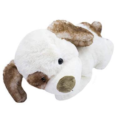 Imagem de Cachorro Branco Deitado 33Cm - Pelúcia