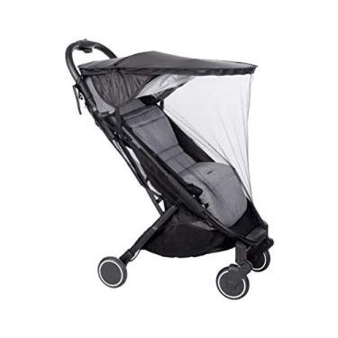 Imagem de YEAHIBABY Guarda-sol impermeável para carrinho de bebê durável, acessórios para carrinho de bebê (2 em 1 telhado à prova de chuva (preto) + mosquiteiro)