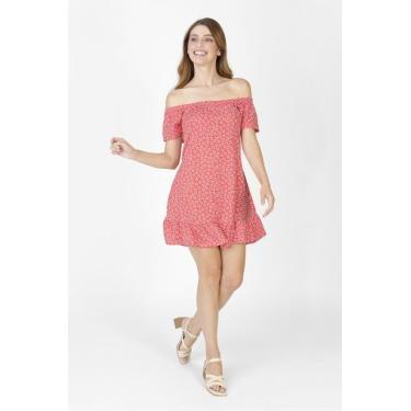 Vestido Ombro a Ombro Floral Vermelho Avenida