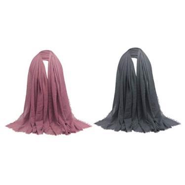 yotijar 2 Unidades para Senhoras Elegantes Lenço Longo Lenço Sólido Plissado Hijab Xale