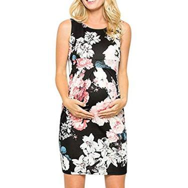 Imagem de PJPPJH Vestido feminino para gestantes, sexy, casual, floral, sem mangas, vestido colado ao corpo para festas à noite, Branco, XX-Large