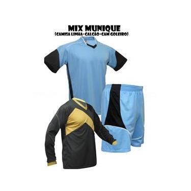 Uniforme Esportivo Munique 1 Camisa de Goleiro Omega + 16 Camisas Munique +16 Calções - Celeste x Preto x Branco