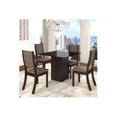 d547b55d2 Conjunto Sala De Jantar Mesa Em Vidro 4 Cadeiras Filty Siena Móveis  Choco canela