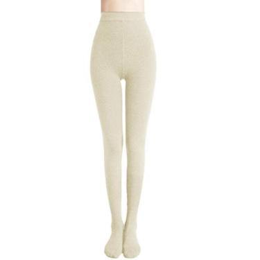 Calça legging feminina preta com controle na parte de cima com pé grosso elástico forrado com lã, Bege, One Size