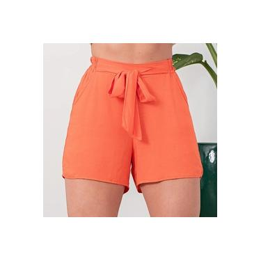 Shorts Feminino Linho Com Cinto Terracota Laranja