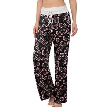 Calça de pijama confortável feminina LONGYUAN casual calça de ioga com cordão Palazzo para relaxar Perna larga para todas as estações, Fl Gypsophila Black, XX-Large