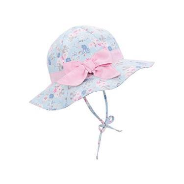 Century Star Chapéu de sol para bebês meninas chapéu de verão aba larga chapéu de verão chapéu de praia, Estampa floral azul, 6-12 meses