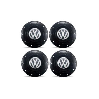 Jogo 4 Calota Centro Roda Ferro VW Amarok Aro 13 14 15 4 Furos Preta Brilhante