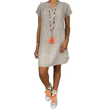 Jofemuho Vestido feminino leve, de manga curta, respirável, de linho, gola V, cor sólida, Cinza, Small