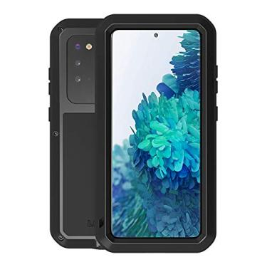 Capa para Galaxy S20 FE 5G, Love MEI de vidro integrado de liga de alumínio de luxo com proteção de metal à prova de choque extrema militar bumper resistente para Samsung Galaxy S20 FE 5G (Preto)