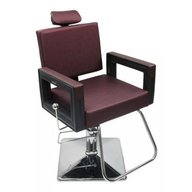 Poltrona Cadeira Reclinável P/ Barbeiro Maquiagem Salão - Vinho