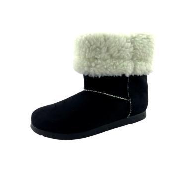 Bota Quality Shoes Forrada em Lã Camurça Preta  feminino