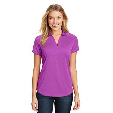 Camisa polo feminina Port Authority Digi Heather Performance L574 rosa florescendo média
