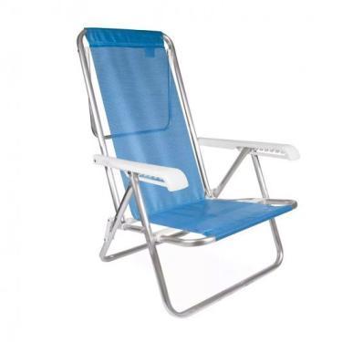 Cadeira Alumínio Sannet Azul 8 Posições Praia Piscina Mor