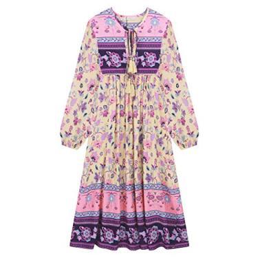 R. Vivimos vestido midi feminino de manga comprida com estampa floral e gola V retrô, com franja, boêmio, Marfim, Large