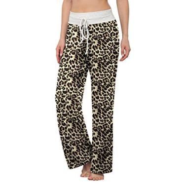 LONGYUAN Calça de pijama feminina confortável casual para ioga, cordão Palazzo Lounge Calça pantalona para todas as estações, Leopard Spot, M