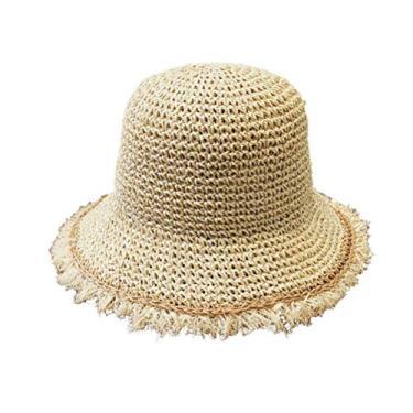 Chapéu de palha feminino dobrável para uso ao ar livre chapéu de sol chapéu chapéu de pescar chapéu chapéu chapéu de praia pescador chapéu Panamá para mulheres acessórios adultos (bege)