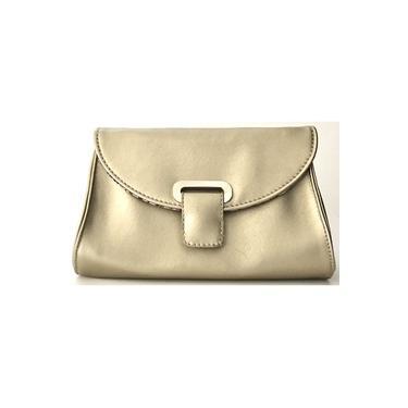 Bolsa Tiracolo Transversal Dourada Pequena Com Alça de Corrente Fina