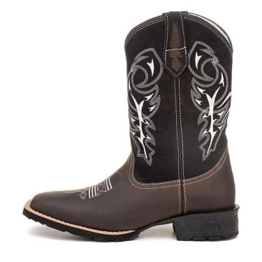 Bota Br Boots Texana Country Raio Preto Couro  masculino