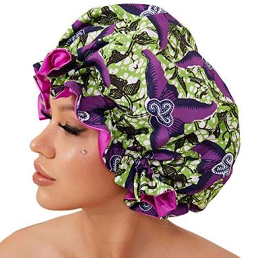 Boné de cetim para mulheres negras, touca de seda para dormir (roxo)