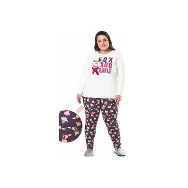 Pijama feminino Moletinho De Inverno Plus Size G1 Ao G4