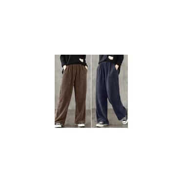 Calças de veludo cotelê feminino com cintura elástica zanzea outono inverno calças retas Castanho 2XL