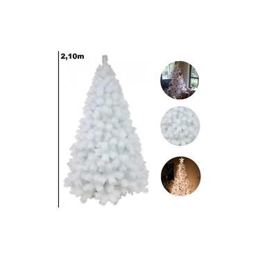 Árvore De Natal Pinheiro Branco De Luxo 2.10m 566 Galhos A0121B
