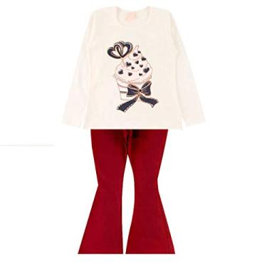 Roupa Infantil Conjunto Feminino Roupa de Frio Inverno Menina Cor:Branco;Tamanho:4