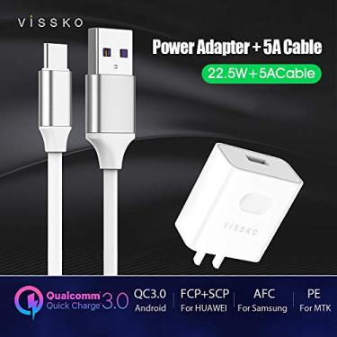OWSOO (Adaptador + cabo) Quick Charge QC 3.0 AFC PE Adaptador de carregador super rápido Carregador USB Travel Home Office Universal Compatível para HUAWEI/Mate Pro/Mate 10/Xiaomi/LG/Honor V10
