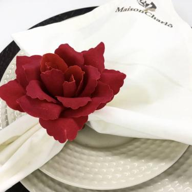 Imagem de Porta Guardanapo Botão de Rosa Colombiana (Vermelho) - 4 unidades