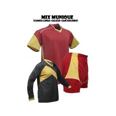 Uniforme Esportivo Munique 1 Camisa de Goleiro Omega + 16 Camisas Munique +16 Calções - Bordô x Dourado x Branco