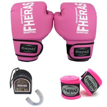 Kit Boxe - Luva Bandagem Bucal 12 oz Rosa
