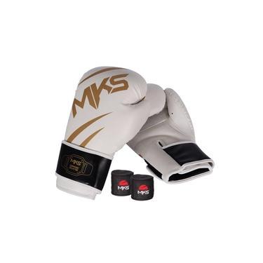 Kit Luva Mks Champions V3 Branco/dourada Bandagem 2,55m 12Oz