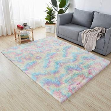 Imagem de Tapete de banheiro rosa moderno com tapetes fofos antiderrapante Tapete para área de estar casa quarto tapete para banheiro 1,3' x 2'