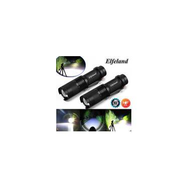 Imagem de 2x Elfeland 12000LM T6 LED Zoom Lanterna Recarregável Tocha Luz Super Brilhante