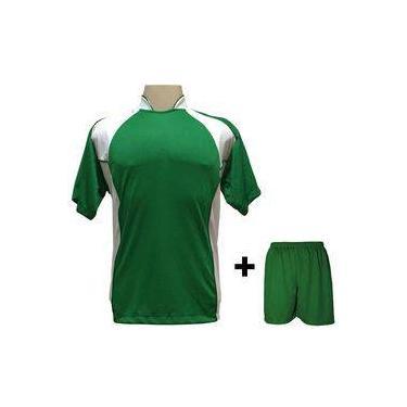eabd2a6ac0 Uniforme Esportivo Com 14 Camisas Modelo Suécia Verde branco + 14 Calções  Modelo Madrid +