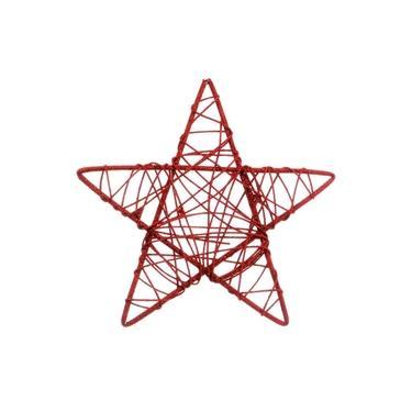 Estrela Rattan Decoração Natal 25Cm Vermelha