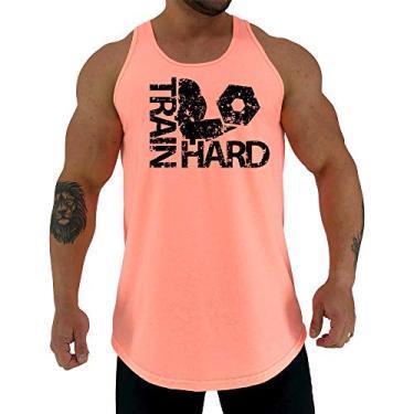 Regata LongLine Masculina Cavada MXD Conceito Train Hard Bíceps Long Line (Laranja Fluor, EG)