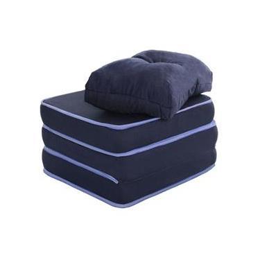 Puff Multiuso 3 em 1 Solteiro Azul com Travesseiro