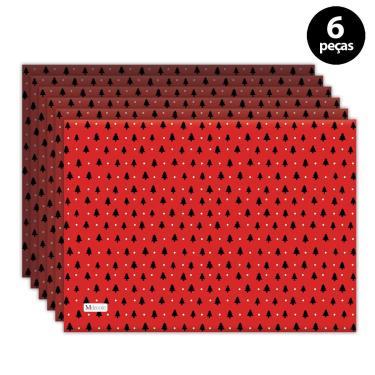 Imagem de Jogo Americano Mdecore Natal Arvore de Natal 40x28 cm Vermelho 6pçs