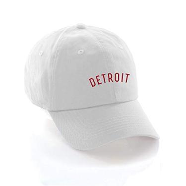 Imagem de Boné de beisebol Daxton USA Cities boné de algodão sem estrutura com tira traseira discreta, Detroit White Red, One Size