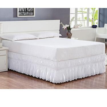 Imagem de Saia para Cama Box Queen Perolla Bordado Ultrassônico - Branco