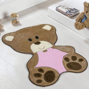 Tapete para Quarto Infantil de Bebê Ursinha Menina Rosa