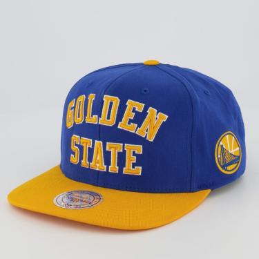 Boné Mitchell  Ness NBA Golden State Warriors Azul e Amarelo