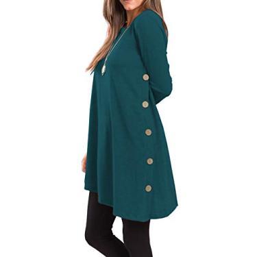 iGENJUN Vestido túnica feminino de manga comprida com gola redonda e botão lateral, Petrol, Medium