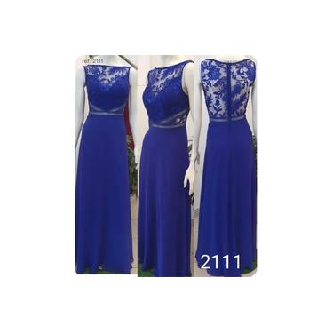 Vestido longo de festa azul royal e turquesa - Ref. 2111